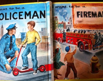 SALE Vintage 60s Children's Book I want to be a Policeman I want to be a Fireman Firefighter 2 Books in One Vintage Career Great Graphics