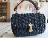Vintage Mid Century Blue Lesco Lona Woven Vinyl Purse / Handbag Hong Kong