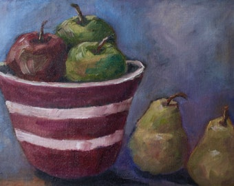 Art Painting Still Life - Original Oil Fruit Pears Apples - Original Painting Fruit in Red Bowl - fine art home decor - wall art colorful