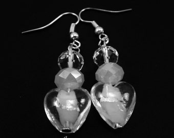 Heart Lampwork Bead Earrings Crystal Rondelles White Opal Beads Valentine's Day Gifts for Her