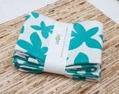 Large Cloth Napkins - Set of 4 - (N1313) - Aqua Flower Modern Reusable Fabric Napkins