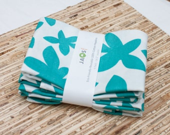 Large Cloth Napkins - Set of 4 - (N1313) - Aqua Flower Modern Reusable Fabric Napkins