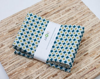 Large ORGANIC Cloth Napkins - Set of 4 - (N1937) - Blue Circles Modern Reusable Fabric Napkins