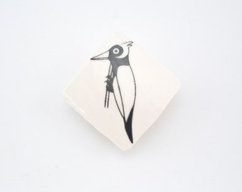 Brooch with Woodpecker Bird - Ceramic Brooche - Pinback button
