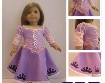 Rapunzel Dress PDF Pattern for American Girl Doll INSTANT DOWNLOAD
