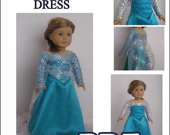 Snow Queen - PDF  Dress Pattern for American Girl or Elsa Doll - INSTANT DOWNLOAD