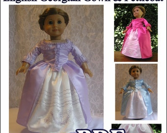 English Georgian Gown with Petticoat c.1777 PDF pattern for AG Doll - Instant Download