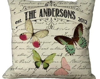 Personalized Butterfly Family in Choice of 14x14 16x16 18x18 20x20 22x22 24x24 26x26 inch Pillow Cover