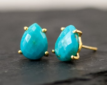 Turquoise Stud Earrings - Post Earrings - Gold Stud Gemstone Earrings - December Birthstone Earrings -  Tear drop Stud - Prong Set Studs