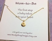 Mom to be necklace, new mom necklace, babyfoot imprint, gold vermeil baby foot, baby shower gift, pregnancy, maternity jewelry, baby feet
