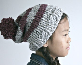 Knit Stripped Slouch Hat in Marble Grey and Fig/ The Cozma Slouch