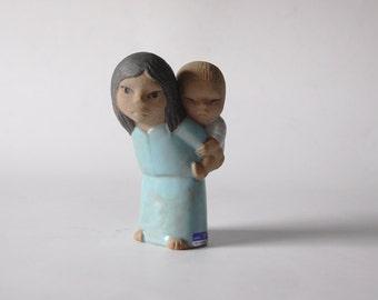 Mid Century Swedish Figurine Woman with Child -  Lisa Larsson for Gustavsberg - 60s