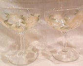 Hand Painted Champagne glasses - White and Gold Poppies