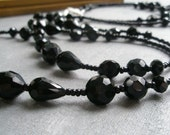 Long Black Faceted Necklace