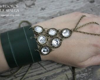 Green Leather bracelet - slave bracelet - warrior - fantasy bracelet