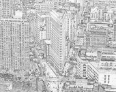 New York City Drawing, Black and White Sketch of the Flatiron Building in New York City View, Modern New York City Wall Art, New Yorker Gift