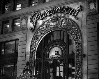 New York City Photography,  Broadway Photos, NYC Photos, Paramount on Broadway-  Photograph, Black and White Photography, Night Photography