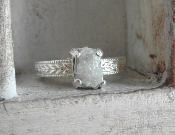 Snow white-Raw Rough Diamond - Solitaire-wedding band- promise-one of a kind ring