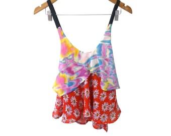 Daisy under Trippy Print 2 Tier Floaty Chiffon Cross Back Crop Camisole Handmade Sample sold as is Prototype