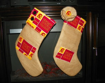 USC Trojans Burlape Christmas Stocking Set with a Pocket for a Gift Card. Couples Gift Set