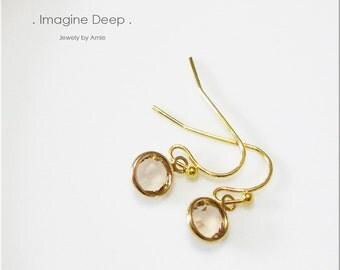 50% off SPECIAL - Dangle Crystal Earrings - Gold Plated Light Honey Brown Topaz-Like Swarovski Crystal Earrings