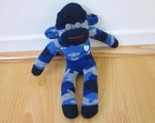 Mini camouflage sock monkey - shades of blue and gray  camo pattern
