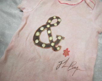 Hand Dyed and Painted Pink Ampersand Onesie, Size 12 Months