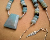 Robin song beaded necklace, black gold amazonite, sterling silver, feather charm, sky blue, unique jewelry by Grey Girl Designs on Etsy