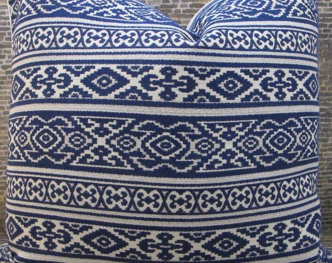 Designer Pillow Cover Lumbar, 16 x 16, 18 x 18, 20 x 20, 22 x 22 - Savunese Emb Indigo Blue