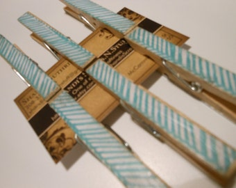 Decorated Clothespins, Distressed Decoupaged Clothespins, 6 Count  Turquoise Blue and White Diagonal StripesSet of 6