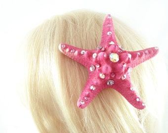 Pink Starfish Hairclip - Little Mermaid Hairclip Mermaid  Costume Mermaid Cosplay Natural Starfish Ursulla Costume