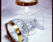 Vintage Sherry Glasses,  Wedding Band Gold leaf trim circa 1960 / 1950