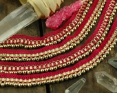 "Berry Beaded Lace Trim / Skinny Ribbon, Sari Border / India, 5/8"" x 1 yard /Bright Pink Craft, Sewing, Decorating Supplies /Gold, Sparkly"