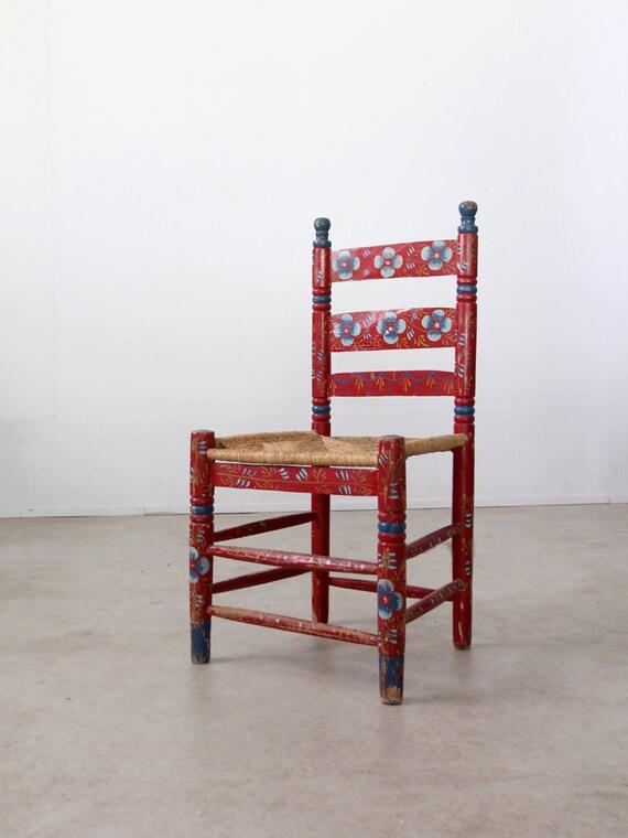 Antique Mexican Folk Art Chair Rush Seat Chair