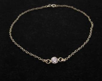 Small clear CZ diamond stone delicate yellow gold bracelet, friendship bracelet