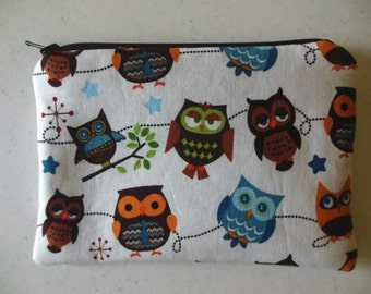 Owls- Small zipper accessory pouch-NEW