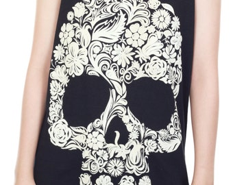 Flower Skull Shirt Skull Tank Top Flower Skull Floral Inspired Tank Women Shirt Tunic Top Vest Sleeveless Tank Top Size M - IZJBT67