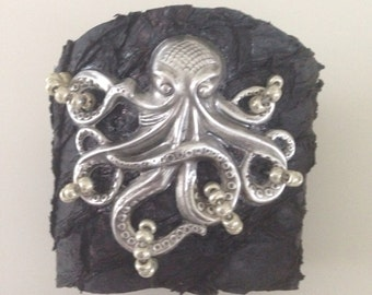 Antique Silver Octopus on Black Suede Fish Leather Cuff Bracelet