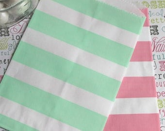 50 Blush and Mint Rugby Stripe Candy Bags, Wedding Candy Bags, Popcorn Bags, Party Favor Bags