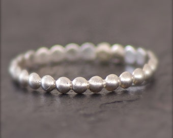 Beaded Sterling Stackable Ring