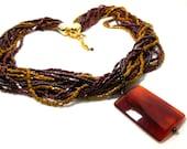 Vintage Multistrand Necklace Carnelian Pendant Modern Red Gold Torsade STUNNING Statement Gemstone Boho Valentine Mom Sale