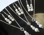 Set of 3 Three Bridesmaid Necklace And Earrings Jewelry Sets, Pearl & Rhinestone Bridesmaid Jewelry,Bridesmaid Earrings And Necklace Set