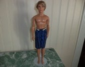 Shorts  Blue & Black Plaid for 12 inch Boy Doll, Ready to Ship