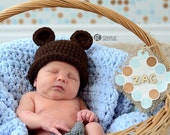 Custom Listing for Kelsey, Baby Bear Hat and Booties, Newborn Bear Hat, Toddler Bear Hat, Newborn Photo Prop, Crochet  Baby Bear Hat