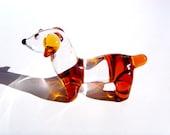 Hand Sculpted Art Glass Flameworked Miniature Dachshund Wiener Dog Animal Figurine