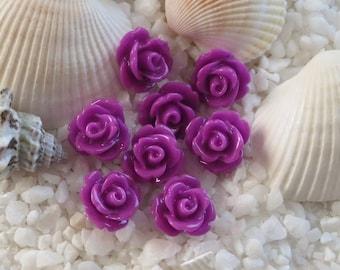 Resin Rose Flower Cabochon - 10mm - 50 pcs - Dark Orchid