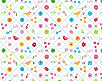 Nursery Cotton Fabric - Simple Sweet by iief lifestyle - Birds and Flowers