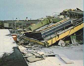 Great Alaskan Earthquake of Good Friday 1964- 1960s Vintage Chrome Postcard- Anchorage, Alaska- Control Tower Ruins- Plastichrome- Ephemera