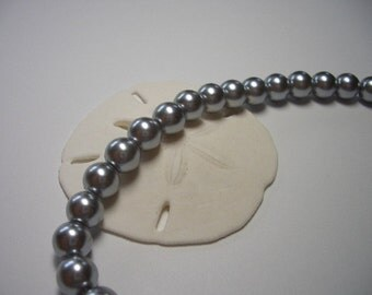 Pearl beads, silver grey, 70 silver glass beads, 6mm round beads, glass beads, grey, silver, beads, 6mm glass beads, 6mm pearl beads
