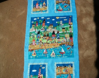 Good Seasons Fabric Panel by Carol Eldridge for Andover Fabrics Beach Scene